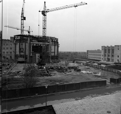 The construction of Centrifuge TsF-18 in Star City. Building started in 1971 and finished in 1974. The centrifuge came from a Swedish company and was installed and tested in 1976, but it was only operational in 1981. This new centrifuge could reproduce a Soyuz landing and go up to 30 g, more than the old centrifuge. (Source)