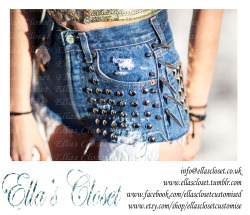 A shot from our recent Photo Shoot, shorts are for sale check them out on etsy For customisation to suit all tastes follow us at                                                                       http://ellascloset.tumblr.com we customise all clothes and shoes. or why not join us on Facebook to receive a discount on your first order and latest offers    http://www.facebook.com/ellasclosetcustomised we are also selling on Etsy check it out  http://www.etsy.com/shop/EllasClosetCustomise we customise anything and everything                 check us out xx