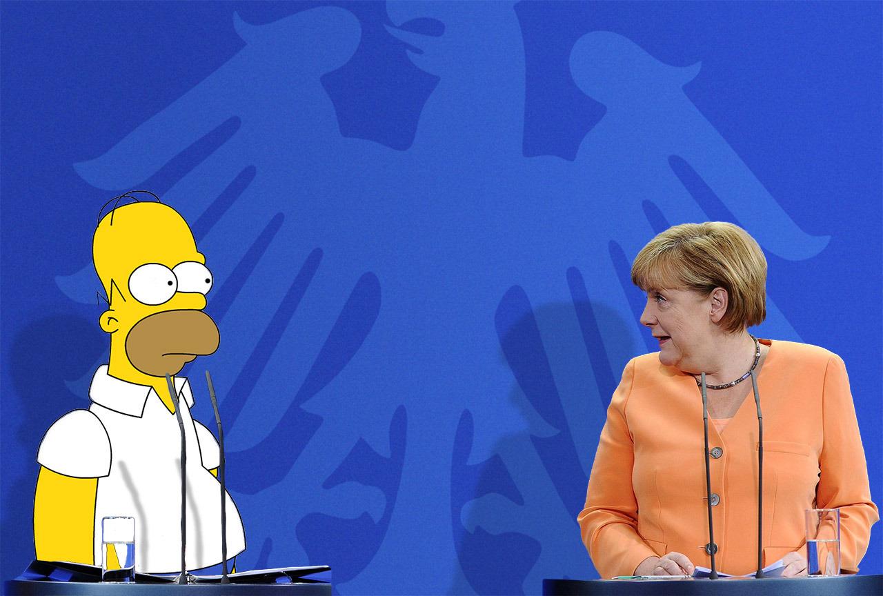 angelamerkelforever:  Angela Merkel with Homer Simpson.