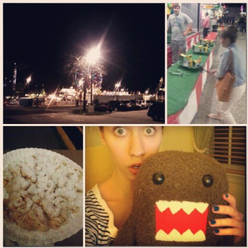 Fair! Funnel cake! I won a Domo knocking down kitties. @rebecca_raley