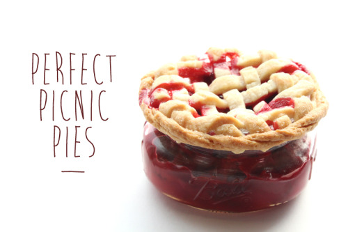 DIY Easy Strawberry Rhubarb Mason Jar Mini Pie Tutorial and Recipe from Free People here. This uses store bought crust (I really like Pillsbury pie crust - the one in the refridgerated section). You could also use ready made filling. For another mason jar mini pie recipe where the crust is in the jar and more like a normal pie go here.