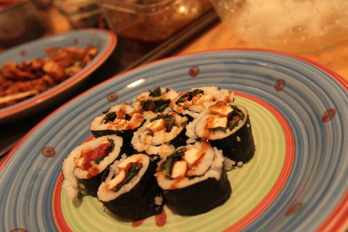 Teriyaki Tofu and Garlic Lemon Rainbow Chard Sushi on Flickr.
