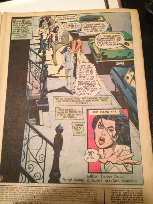 "In a ""Special Women's Lib Issue"" Wonder Woman confronts her greatest enemy: cat-callers.   Comics everybody!"