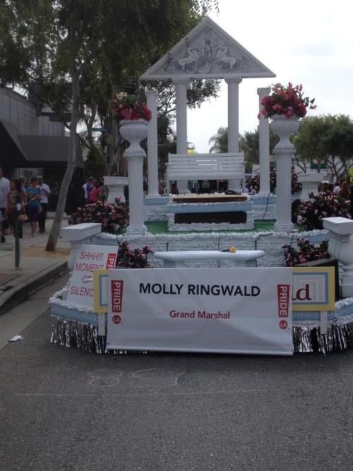 2012 West Hollywood, CA Pride was a blast. Molly Ringwald was the Grand Marshall and the theme was Greek Goddess. So Team OneGoodLove dressed-up the part and had a blast with Molly's Greek family. We had fun with Molly's two kids and her husband who was absolutely terrific. Much love to Molly and her family!