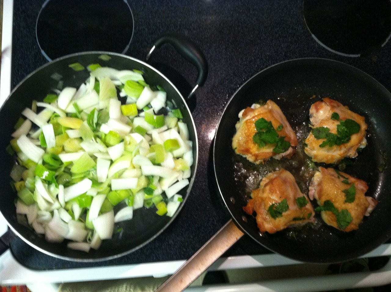 Sunday dinner: pineapple sage chicken and leeks with onions — not pictured: roasted baby potatoes with garlic and basil