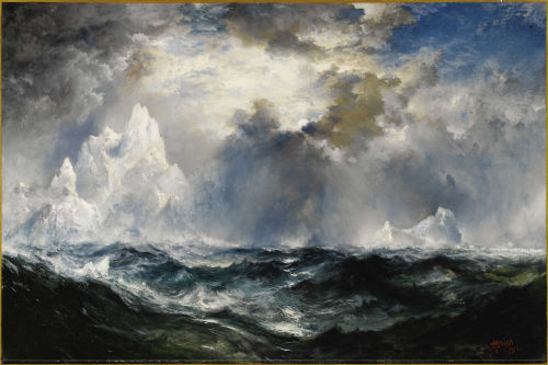 adventures-of-the-blackgang:  THOMAS MORAN (American 1837 - 1926) Moonlight, Icebergs in Mid Atlantic, 1910