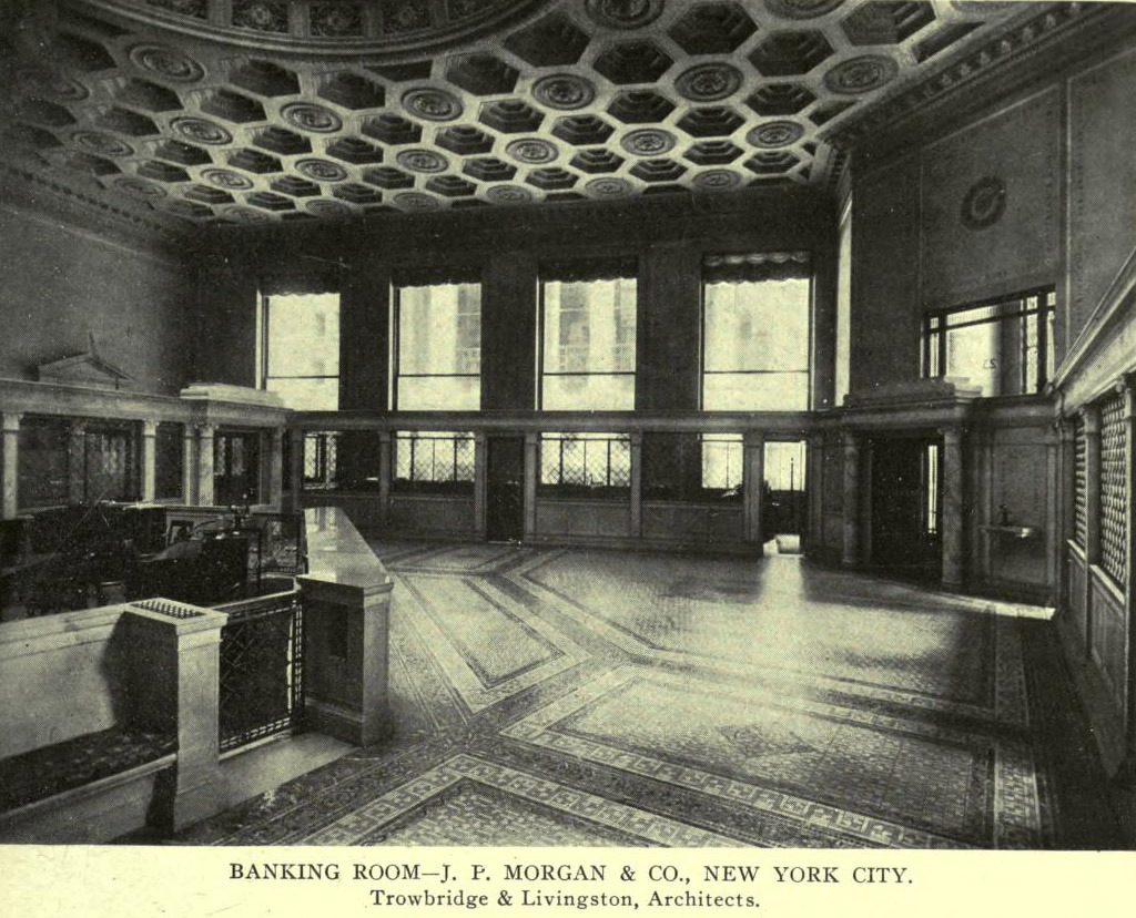 Inside the banking room of J. P. Morgan & Co., New York City