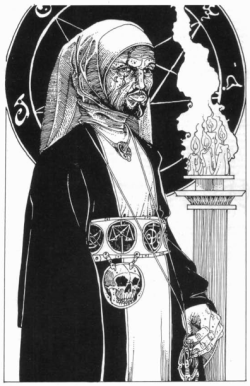 Illustration for the Necromancer class as presented in White Dwarf #35.