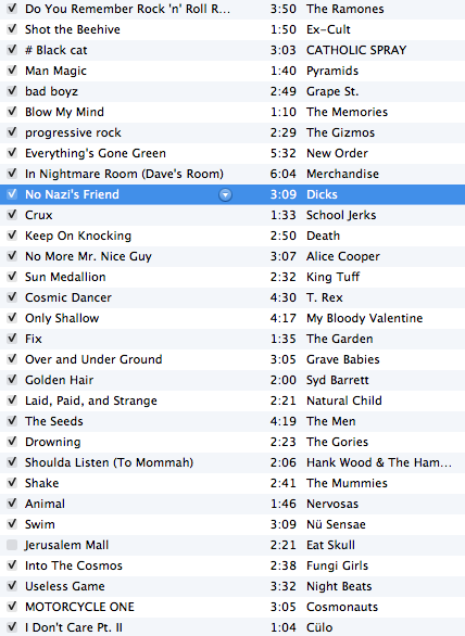 Here is the playlist so far for my radio show. Catch it on the air pretty much now till 6pm central. Tune in.