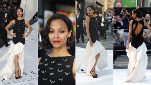Zoe Saldana wears Vionnet at the UK Premiere of 'Star Trek Into Darkness'. Looks stunning as usual.
