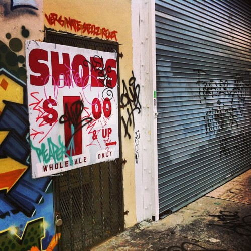 Wholesale Only. #shoes #sign #wynwood #miami #door #doorporn #garagedoor #tags #texture