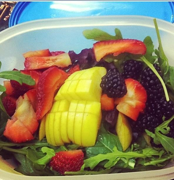 From Gastroposter Jordan Mills: Arugula, strawberries, blackberries, apple and red pepper. The perfect lunch for a busy day at work!