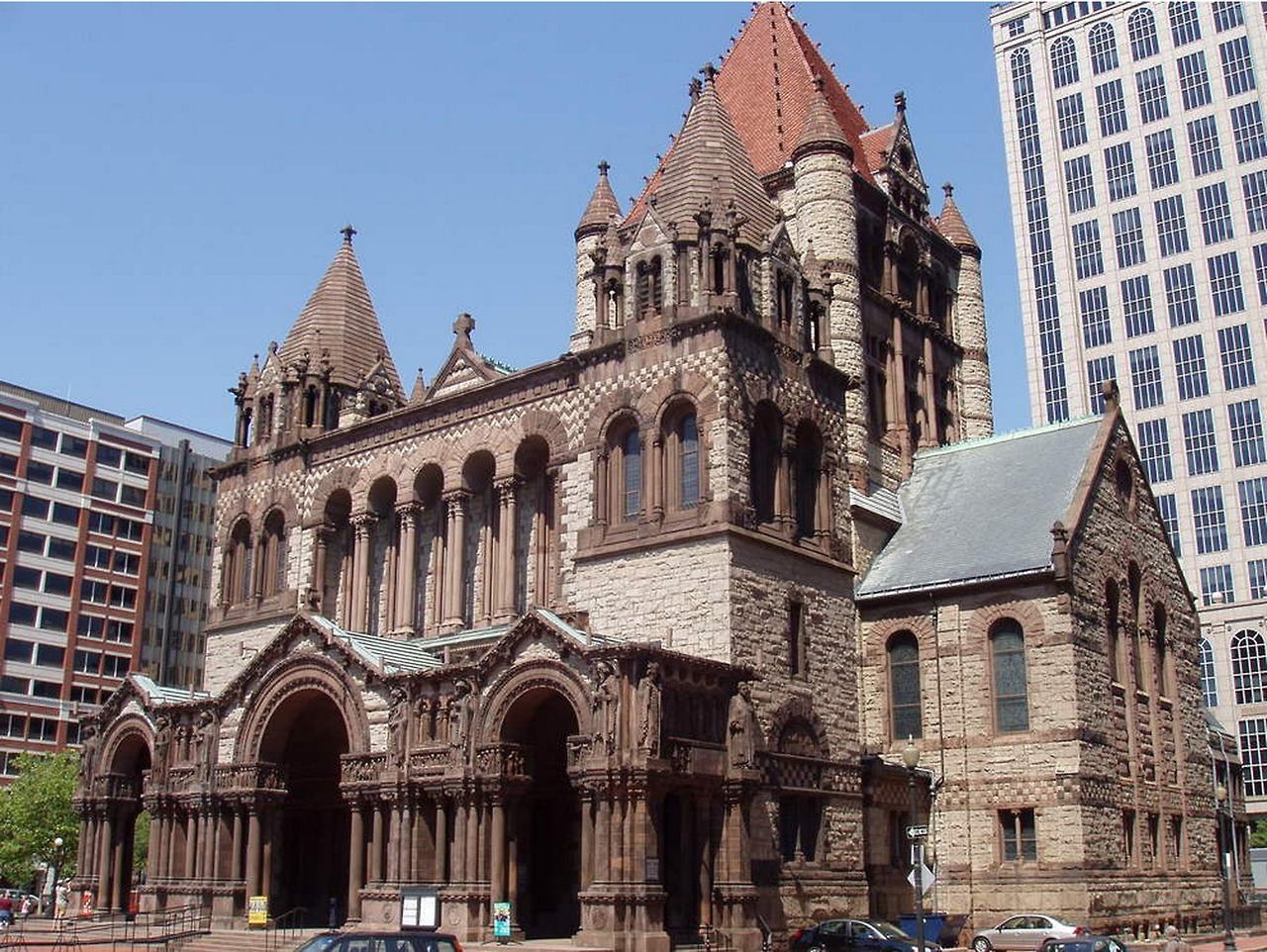 Created by architect H.H. Richardson, Trinity Church was the first example of the Richardsonian Romanesque style, which was later used in churches, city halls, and county courthouses across America. Editor Anulfo Baez recaps its inclusion in the new PBS special 10 Buildings That Changed America [continued at Big Red & Shiny…] Image via Wikimedia Commons user: MatthiasB