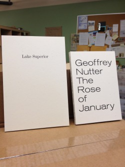 Fans of Lorine Niedecker and Geoffrey Nutter will be able to pick up these titles at our table at AWP Boston this March. Lake Superior will be available for purchase on our website April 1st and The Rose of January June 1st.