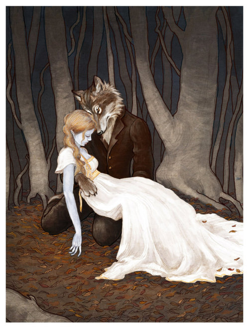 "thedarknerdrises:  ""the wolfman"" by erin (aka bluefooted)"
