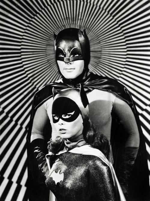 Adam West and Yvonne Craig in a publicity photo for the Batman TV show c. 1967