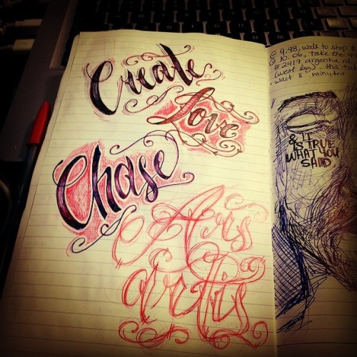 Sketchy hand lettering with ballpoints. #ballpointpen #pen #art #sketch #doodle #tattoo #tattoodesign #tattoolettering #tattooletters #love #sketchbook #create #chase #arsartis #artistsofinstagram #artist