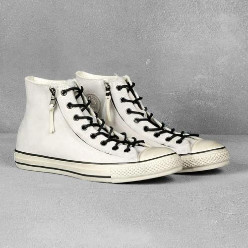 CULT Kick: John Varvatos for Converse White double side zipped leather high tops