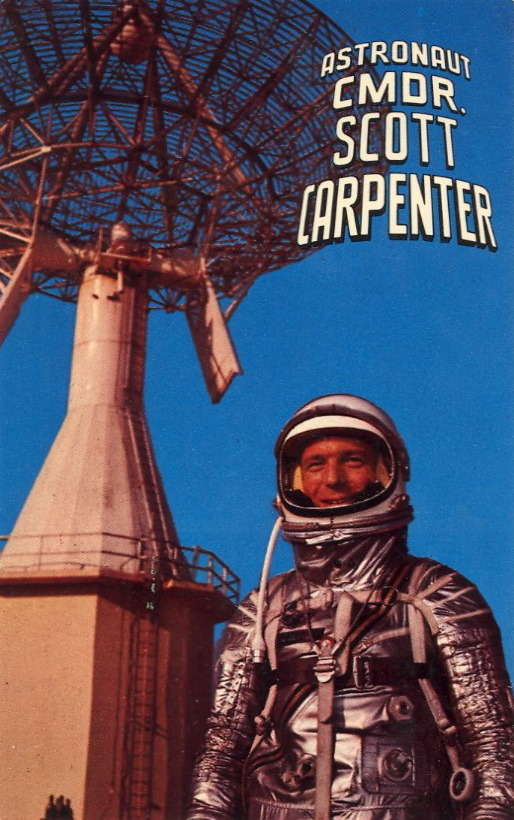 ASTRONAUT CMDR. SCOTT CARPENTER   Astronaut Scott Carpenter, dressed in space suit, preparatory to America's second manned orbital flight, May 24, 1962.
