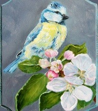 Chickadee Bird on Cherry Branch Folk Art by EnzieShahmiriDesigns via [Enzie Shahmiri Designs]