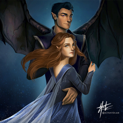 pojainter: Rhys and Feyre illustration for a candle label design for Wick and Fable! To see more and grab your own, head on over to www.wickandfable.com Characters copyright Sarah J Maas .
