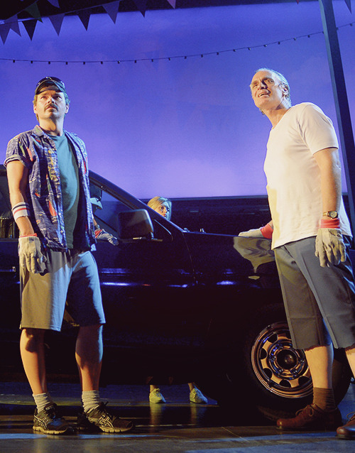 Hunter Foster and Keith Carradine in Hands on a Hardbody (2013).