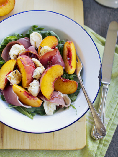 Peach and Prosciutto Salad with recipe (link)