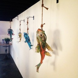 Love seeing these catfish by Grant Garmezy when I walk in the gallery. His show opens this Saturday and will be up through the end of June. #glass #electroplatedcopper #catfish #sculpture (at j fergeson gallery)