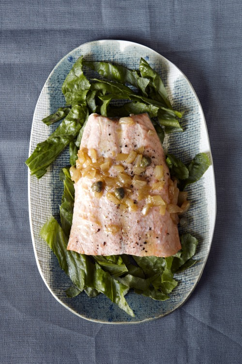 © Jennifer Causey  Poached Salmon with Caper-Butter Sauce Recipe Contributed by Marcia Kiesel Click here for full recipe