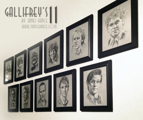 "jameshance:  'Gallifrey's 11' - Trimmed and framed Taking pics for the eBay listings of the original paintings - links will appear here in just a few minutes :) Apologies for the slightly wonky alignment of the frames in the pic, I'm not a curator. I'm not even a cur-seven-er! (I know, I know…)  Hopefully sorting the logistics of the prints tomorrow - they'll be available as a complete set of 11 prints at around 8"" x 10"", and select Doctors will be available in a larger format. Thanks for your exceedingly kind words, as always! Sorting the eBay listings right now xMy site / My Facebook / Original Art on eBay   Gorgeous - and a great way to find out who is the most popular Doctor by the most truthful method: through the fans' wallets!With 2.5 days left, the popularity is as such:Tom Baker / Christopher Ecclestone - $202.50Matt Smith - $192David Tennant - $182William Hartnell / Sylvestor McCoy - $102Paul McGann - $56Jon Pertwee - $53Patrick Troughton - $52Peter Davison / Colin Baker - $51Let's see how this pans out, shall we?"