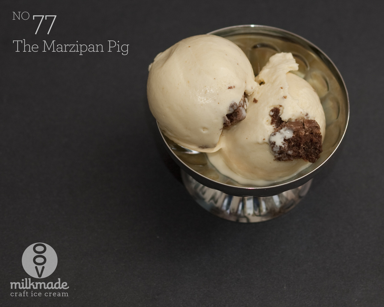 flavor of the day: The Marzipan Pigmarzipan ice cream with chocolate truffleHappy New Year everyone!  Dunno about y'all, but we have big goals for 2013. So we're looking for all the luck we can get. To start it off, we partook in just about every New Year's Eve tradition we know - lasagna for dinner, 12 grapes at midnight (see Flavor #54), dish throwing, jumping 12 waves (hope piles of snow counted), welcoming a tall, dark, handsome gentlemen as the first guest to our home (if only!), collared greens, black eyes peas — the works, you guys! And lest we forget the Marzipan Pig, the candy pig that bestows luck and prosperity upon its recipient in the year to come. Well, we're spreading some of that good fortune on to our MilkMade Members with our first flavor of the year, The Marzipan Pig — a marzipan pint studded with house-made Mast Brothers chocolate truffles.