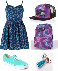 ~ by shilky featuring a purple hatPeople Tree , $91 / Vans green shoes / Vans rucksack bag / Blue jewelry / Vans purple hat, $26