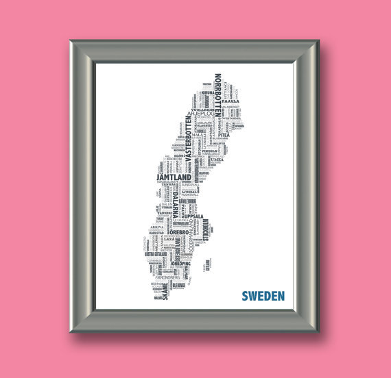 "soulofsweden:  ""This beautiful typographical map of Sweden is composed entirely out of the cities, towns, counties and features that make up this beautiful country."""