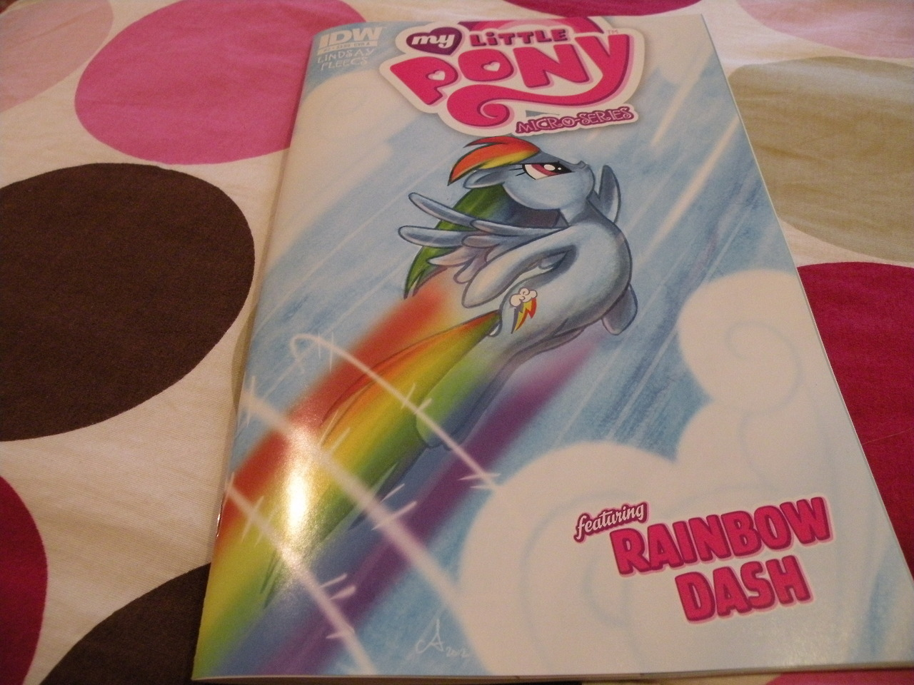 Rainbow Dash comic! Comic #2 of the micro series Price: $3.99 plus tax Where: Hastings Bad guys! Action! Rainbow Dash being conceited! It's all here. Dash really pushes my buttons sometimes. It seems like the dialogue is a little..odd in this one. There were several panels where I had to re-read to get what they were saying. There is some applejack scenes in this one too. Can't have dash without aj I guess. Rarity is next month! yay!