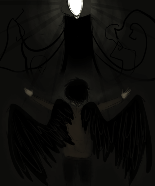 askthemask:  ((A biblical AU where the proxies are fallen angels and slenderman is their deity))
