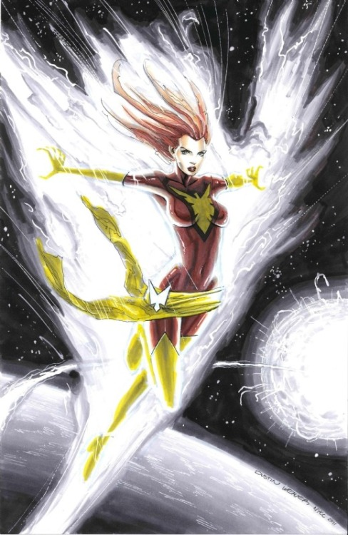 jewmafia:  Dark Phoenix by Dustin Weaver   Dustin Weaver draws Dark Phoenix.