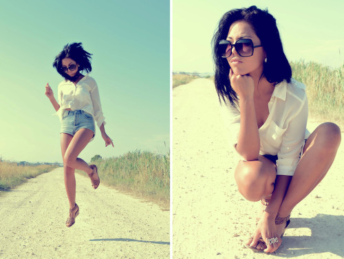 mbelievee:  Memory Lane (by Make Believee)#summer #shorts #hot #sunshine #shirt #white #oversizesunglasses #italy