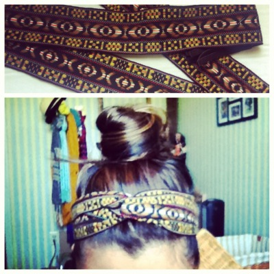 My moms belt from the 60s is now my headband.