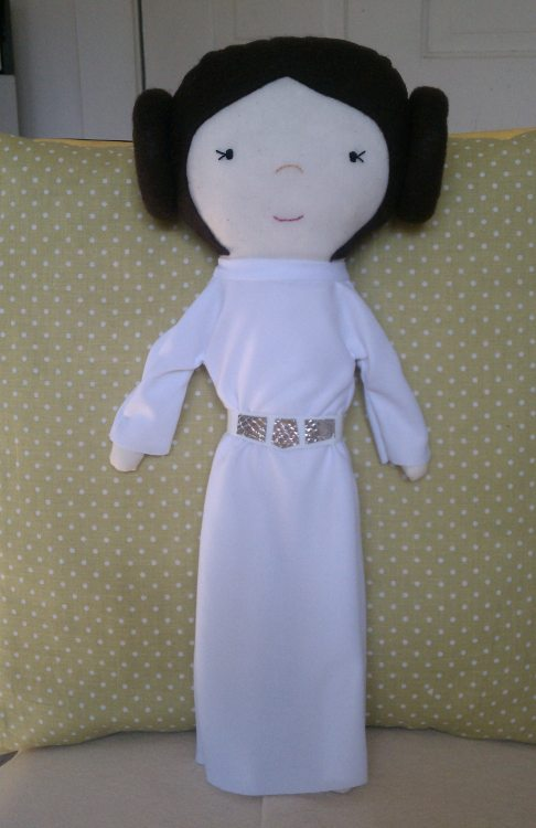 A rag doll of Princess Leia that I made in honor of my little sis.