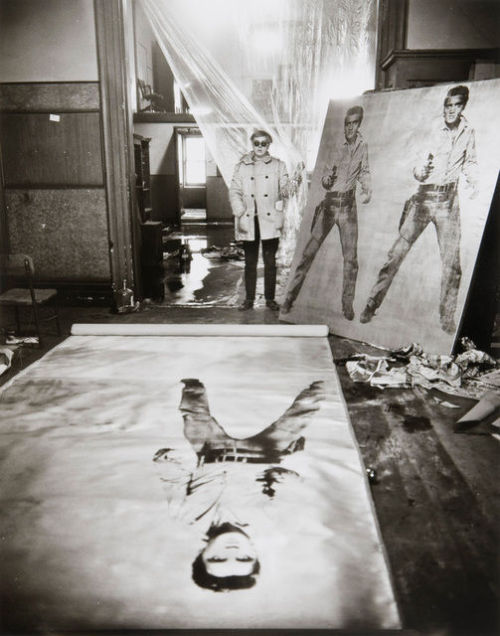 digbicks:  Andy Warhol in his studio with Elvis Presley Print (New York, 1962), Evelyn Hofer
