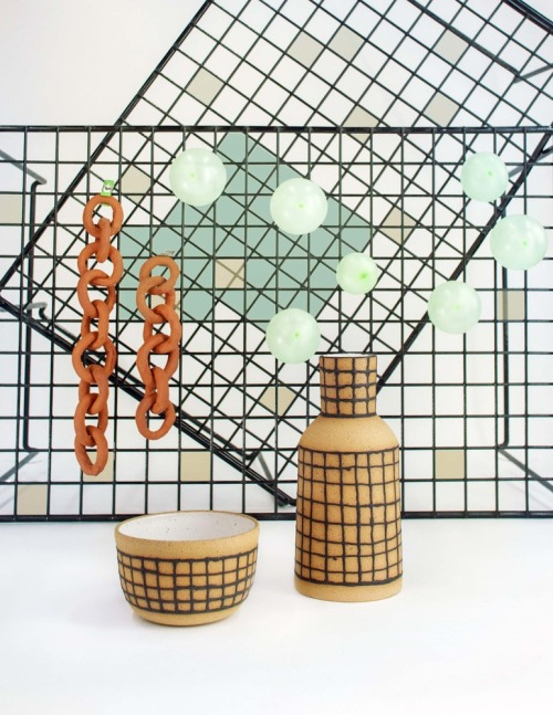gridded buff vessel and bowl / ben medansky