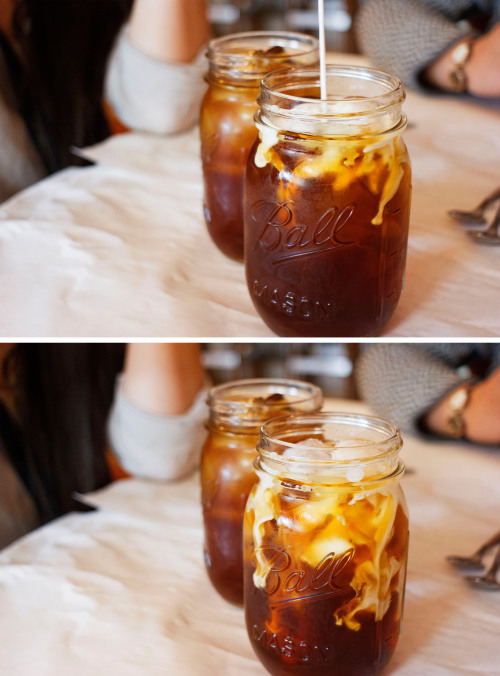 potatoislike:  Iced Coffee in mason jars.