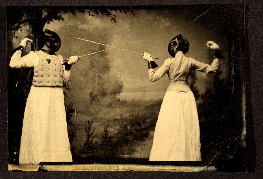 Two Unidentified Women Fencing, 1885 (by George Eastman House)