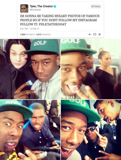 From selfies with Jack White and J.Lo to celebrating Frank Ocean's win with an all-caps rant, here are Tyler, the Creator's best tweets from the 2013 Grammy Awards: http://blbrd.co/X3qzAo