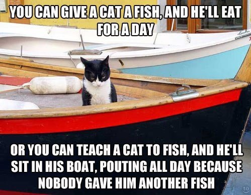 Teach a cat to fish…