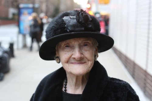 "humansofnewyork:  After I took her photo, she stuck her cheek out for a kiss. After I gave her one, she said: ""Isn't love great?""""Yes it is,"" I replied. Then she leaned in and said:""But sex is better."""