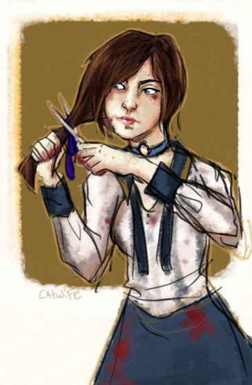 felinesgambit:  New beginnings. A quickie of elizabeth because I am at this point in infinite and DID ANYONE THINK ABOUT HOW SHE MIGHT HAVE CUT HER HAIR WITH THE SCISSORS SHE USED TO KILL DAISY?????????????? *spoilers.*