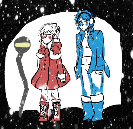 starlightsanctum:  idk i saw a cute coat on my dash so i was like kUMO MUST WEAR IT… mariko on the other hand spends winter waiting for it to be socially acceptable to take her jacket off because she is a FURNACE this height difference is really inaccurate shhhh