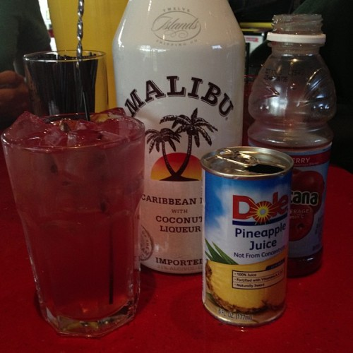 I made it myself! #malibubreeze #coconut #rum #pineapple #cranberry #seniordays #classof2013 #bartending #nomnomnom