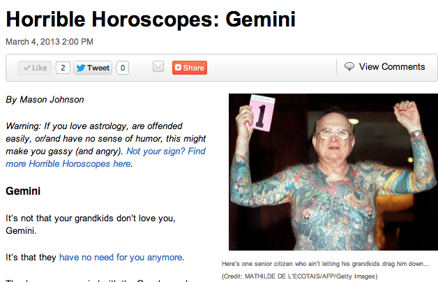 Horrible Horoscopes is back not that it was really gone long (just a week) READ & SHARE